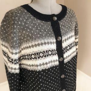 Vintage GAP fair isle black and white sweater